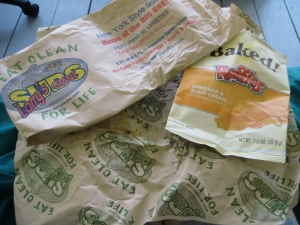 Everything could be composted, minus the chip bag. The chip bag could be sent to Terracycle though...