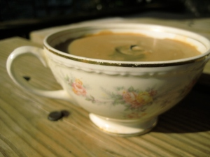 These were my grandmother's old coffee cups no one wanted. With twice used wax, they make a great little gift. This one is my favorite. I broke the wick off of this one so it really looks like coffee now!